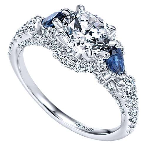 18k White Gold Diamond  And Sapphire 3 Stones Halo Engagement Ring angle 3