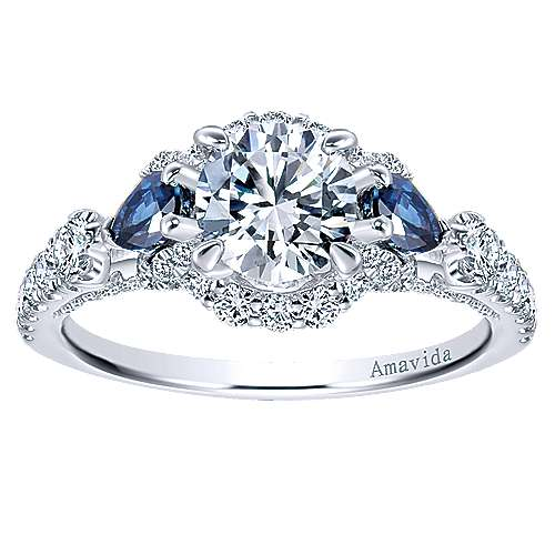 18k White Gold Diamond  And Sapphire 3 Stones Halo Engagement Ring angle 5
