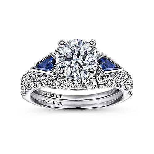 18k White Gold Diamond  And Sapphire 3 Stones Halo Engagement Ring angle 4