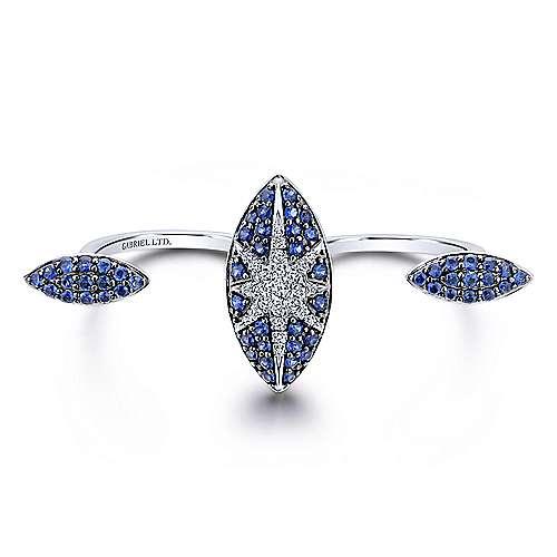 Gabriel - 18k White Gold Kaslique Double Ring Ladies' Ring