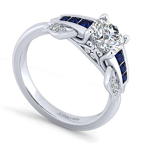 18k White Gold Diamond  And Sapphire Free Form Engagement Ring angle 3