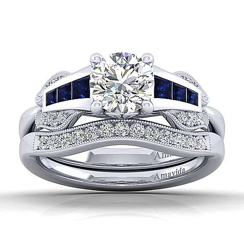 18k White Gold Diamond  And Sapphire Free Form Engagement Ring angle 4