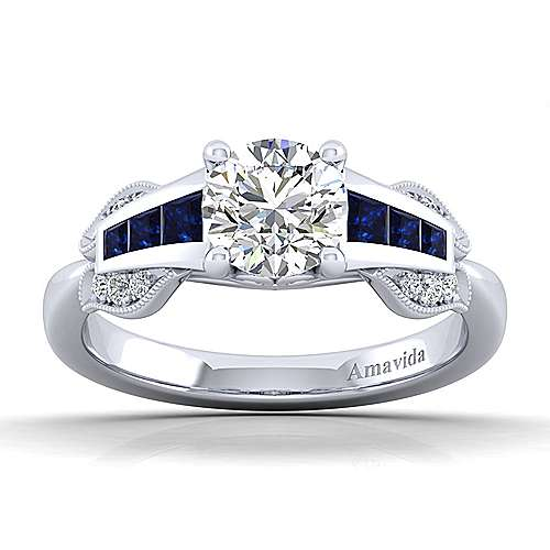 18k White Gold Diamond  And Sapphire Free Form Engagement Ring angle 5
