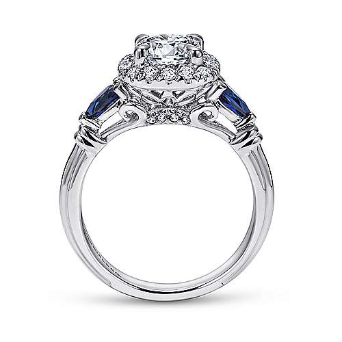 18k White Gold Diamond  And Sapphire Halo Engagement Ring angle 2