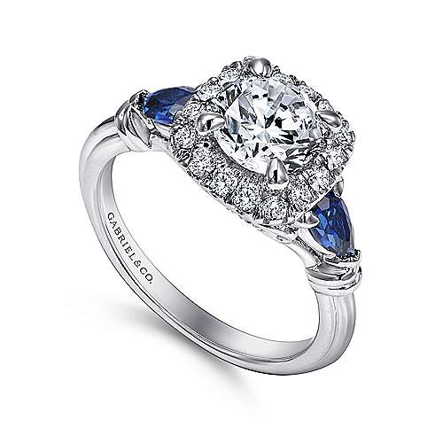 18k White Gold Diamond  And Sapphire Halo Engagement Ring angle 3