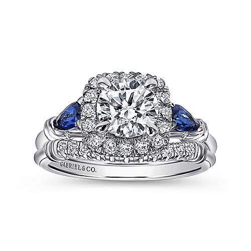 18k White Gold Diamond  And Sapphire Halo Engagement Ring angle 4