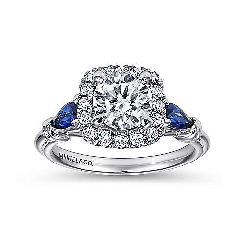 18k White Gold Diamond  And Sapphire Halo Engagement Ring angle 5