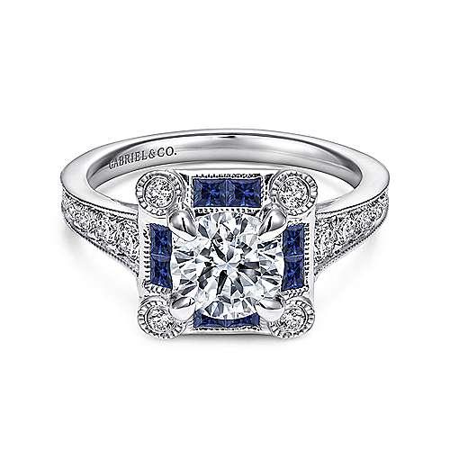 Gabriel - 18k White Gold Empire Engagement Ring