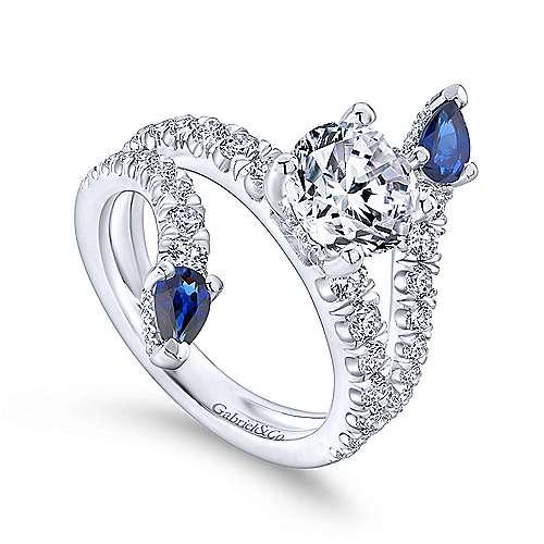 18k White Gold Diamond  And Sapphire Split Shank Engagement Ring angle 3