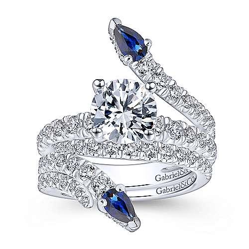 18k White Gold Diamond  And Sapphire Split Shank Engagement Ring angle 4
