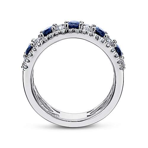 18k White Gold Diamond  And Sapphire Wide Band Ladies