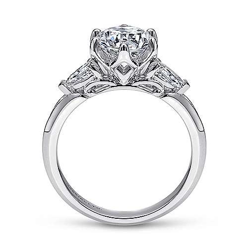 18k White Gold Diamond 3 Stones Engagement Ring angle 2
