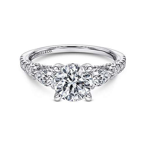 18k White Gold Diamond 3 Stones Engagement Ring angle 1