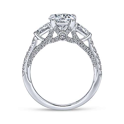18k White Gold Diamond 3 Stones Engagement Ring angle 2