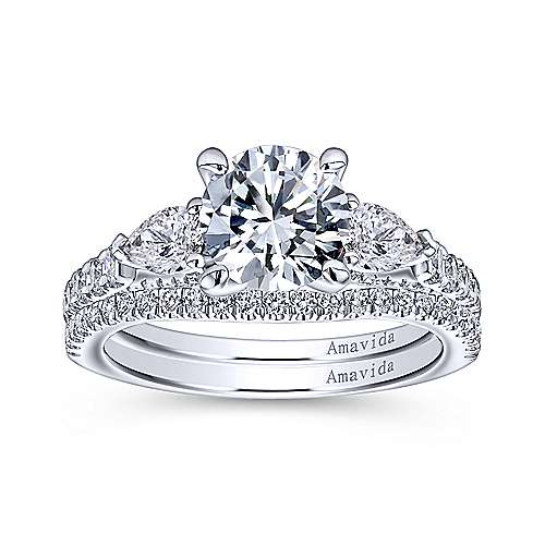 18k White Gold Diamond 3 Stones Engagement Ring angle 4
