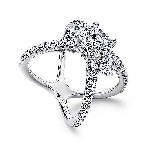 18k White Gold Diamond 3 Stones Engagement Ring angle 3