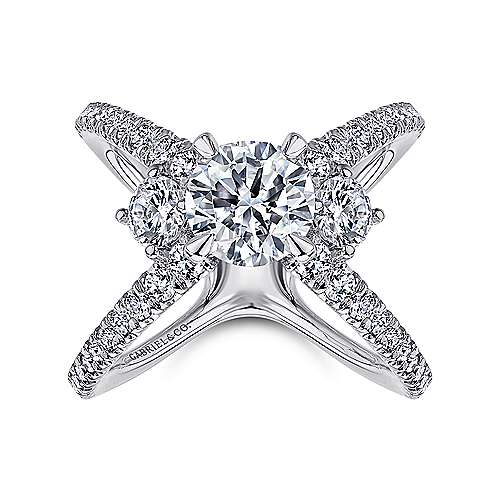 18k White Gold Diamond 3 Stones Engagement Ring angle 5
