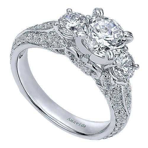 18k White Gold Diamond 3 Stones Engagement Ring angle 3