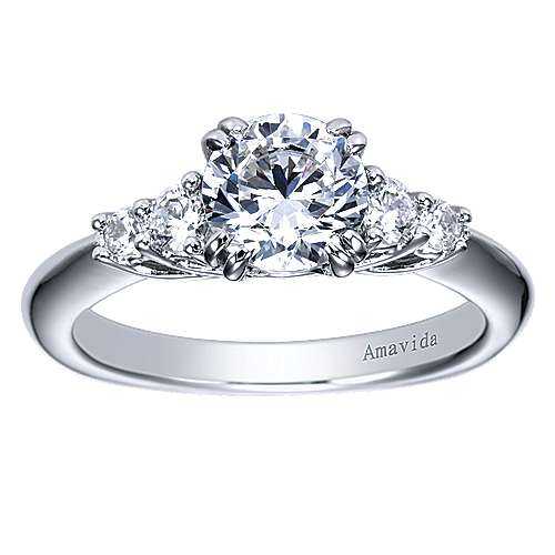 18k White Gold Diamond 3 Stones Engagement Ring angle 5