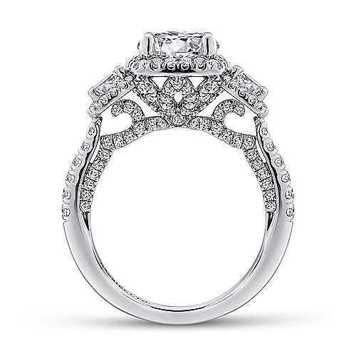 18k White Gold Diamond 3 Stones Halo Engagement Ring angle 2