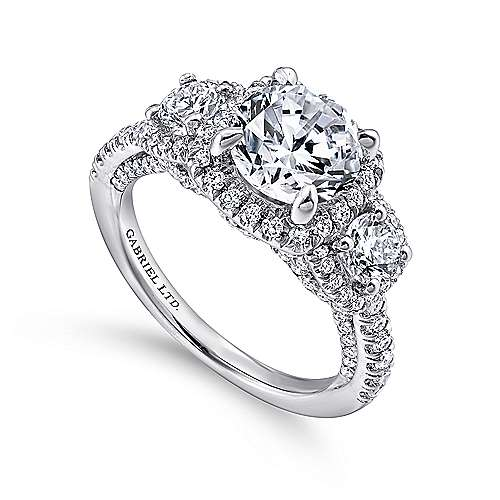 18k White Gold Diamond 3 Stones Halo Engagement Ring angle 3