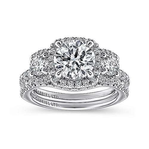 18k White Gold Diamond 3 Stones Halo Engagement Ring angle 4