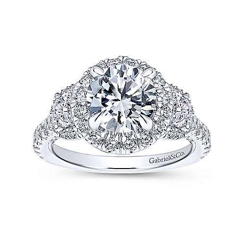 18k White Gold Diamond 3 Stones Halo Engagement Ring angle 5