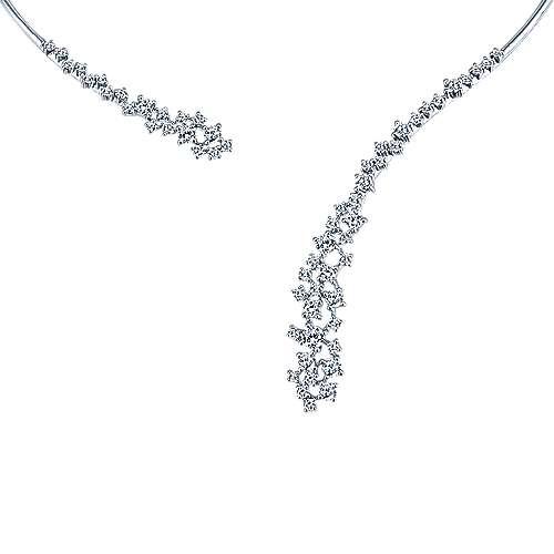 18k White Gold Diamond Asymmetrical Open Choker
