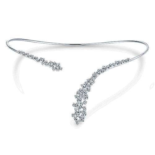 18k White Gold Diamond Asymmetrical Open Choker Necklace angle 3