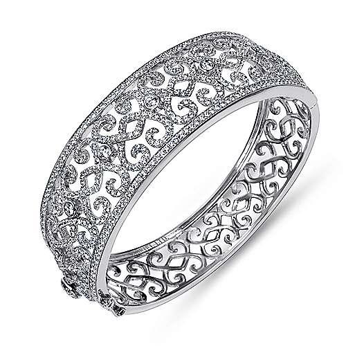 18k White Gold Diamond Bangle angle 2