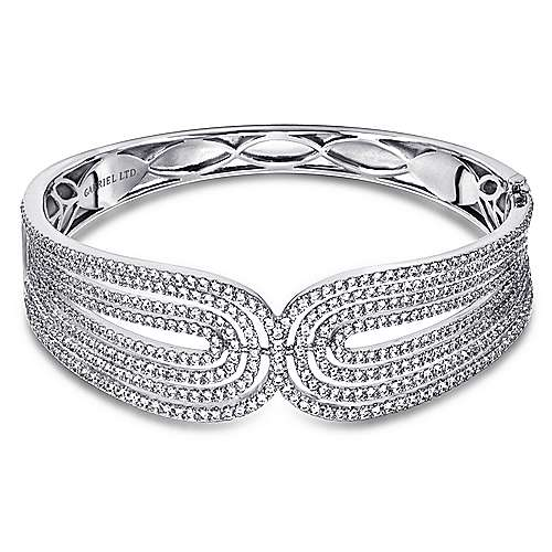 18k White Gold Diamond Bangle angle 1