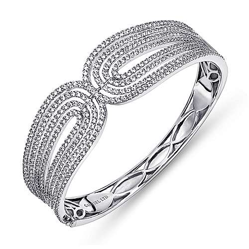 18k White Gold Diamond Bangle angle 2