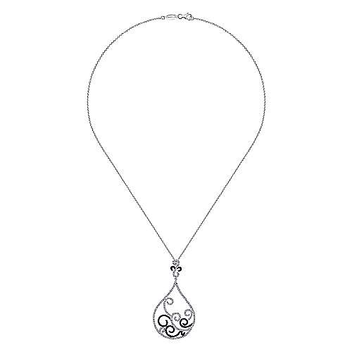 18k White Gold Diamond Black Diamond Fashion Necklace angle 2