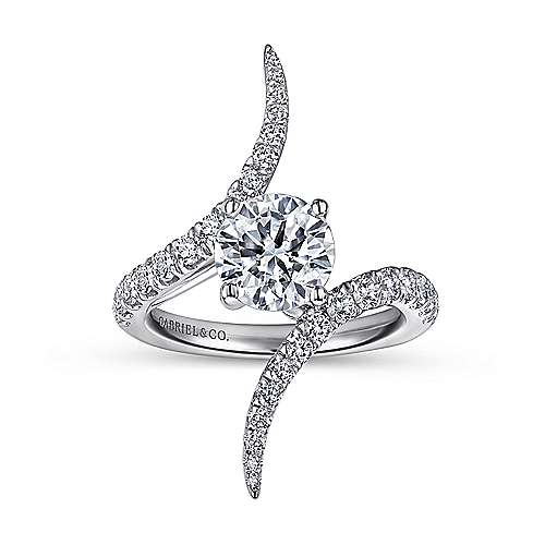 18k White Gold Diamond Bypass Engagement Ring angle 5