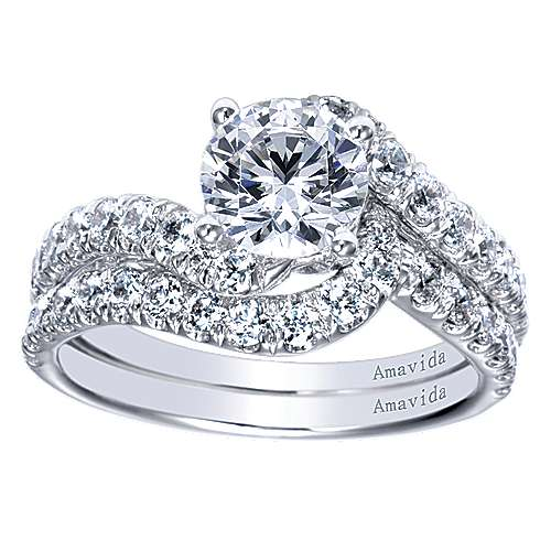18k White Gold Diamond Bypass Engagement Ring angle 4