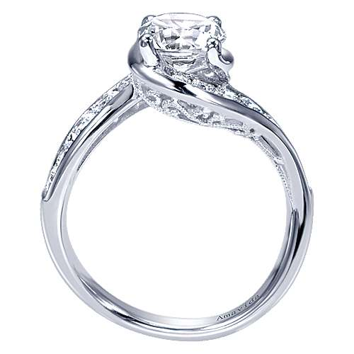 18k White Gold Diamond Bypass Engagement Ring angle 2