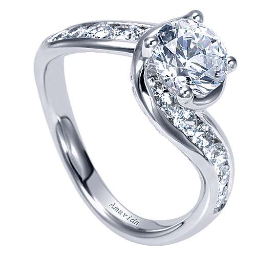 18k White Gold Diamond Bypass Engagement Ring angle 3