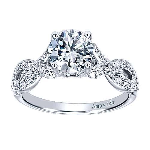 18k White Gold Diamond Criss Cross Engagement Ring angle 5