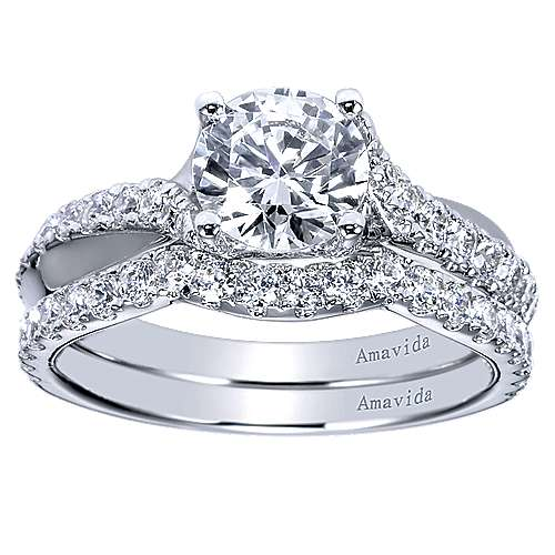 18k White Gold Diamond Criss Cross Engagement Ring angle 4