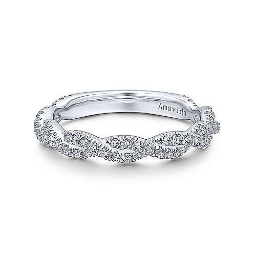 18k White Gold Diamond Criss Cross
