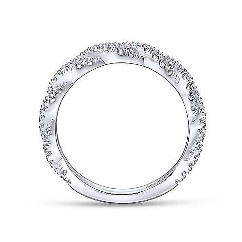 18k White Gold Diamond Criss Cross Wedding Band angle 2