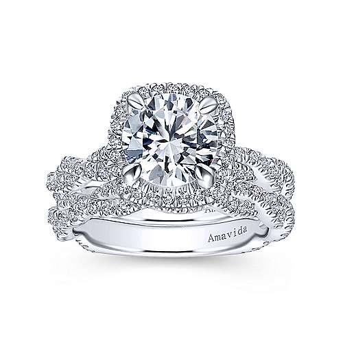 18k White Gold Diamond Criss Cross Wedding Band angle 4
