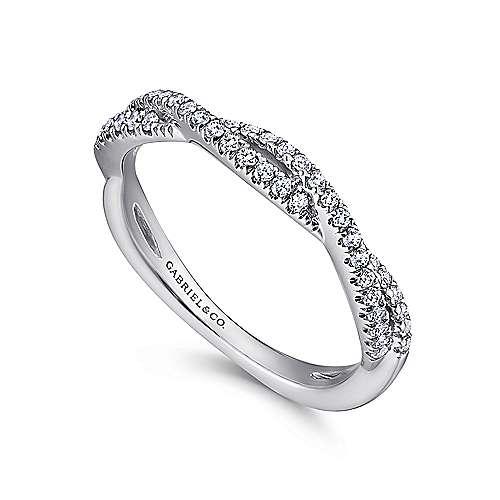 18k White Gold Diamond Criss Cross Wedding Band angle 3