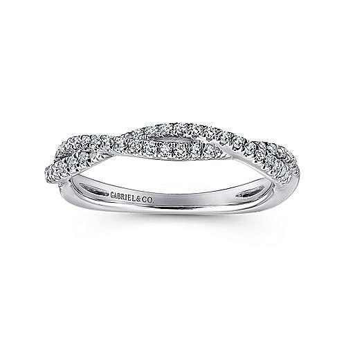 18k White Gold Diamond Criss Cross Wedding Band angle 5