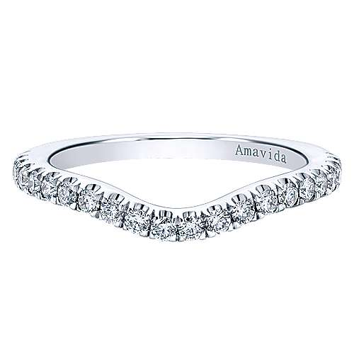 18k White Gold Diamond Curved Wedding Band angle 1