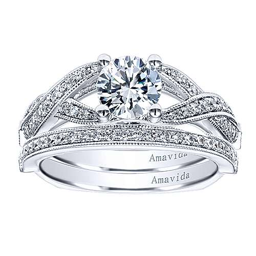 18k White Gold Diamond Curved Wedding Band angle 4