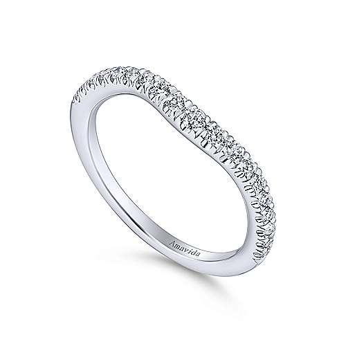 18k White Gold Diamond Curved Wedding Band angle 3