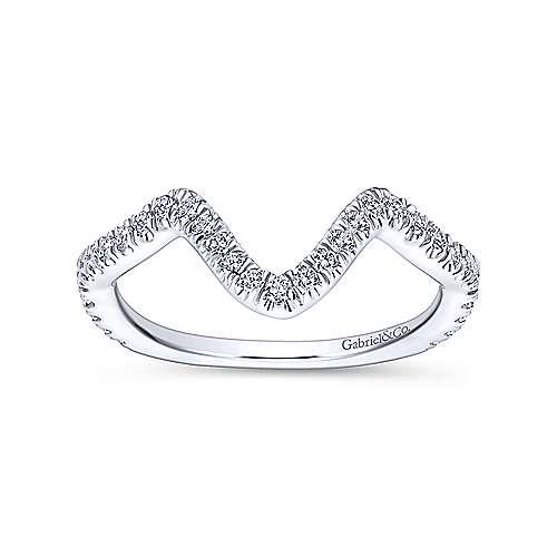 18k White Gold Diamond Curved Wedding Band angle 5