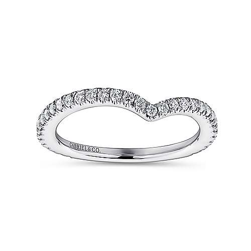 18k White Gold Diamond Curved Wedding Band angle 5