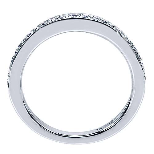 18k White Gold Diamond Curved Wedding Band angle 2